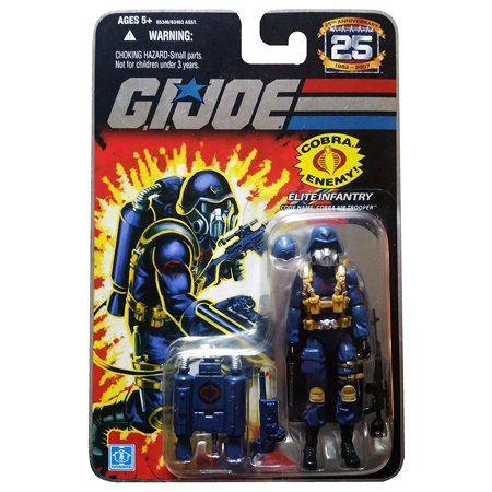 G.I. Joe 25th Anniversary: Cobra Air Trooper (Elite Infantry) 3.75 Inch Action Figure, Articulated elite infantry action figure comes with weapon, a jet backpack and.., By G I