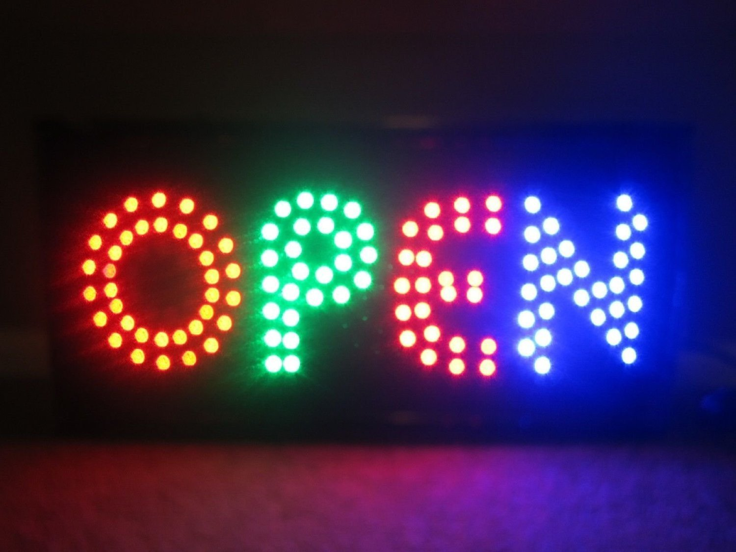 2xhome open sign large letters high visible bright colors led moving flashing neon sign motion light chain 19x10 for business drink restaurant diner
