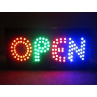 2xhome - Open Sign - Large Letters High Visible Bright Colors Led Moving Flashing Neon Sign Motion Light Chain 19x10 for Business Drink Restaurant Diner Cafe Bar Coffee Shop Store Wall Window Display