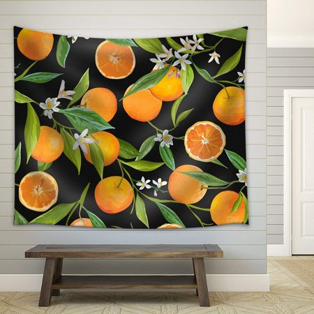 wall26 - Vector - Seamless Pattern. Orange Fruits Background. Floral Pattern. Flowers, Leaves, Fruits Background - Fabric Wall Tapestry Home Decor - 51x60 inches