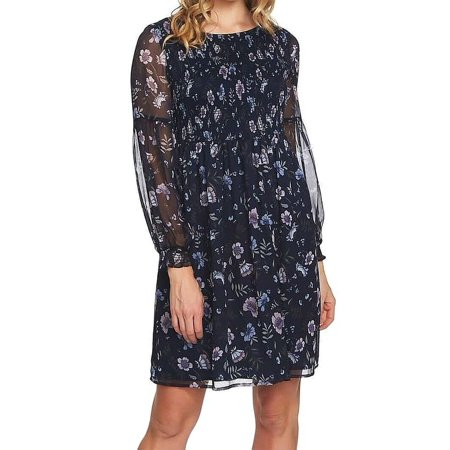Navy Womens Smocked Floral Print Shift Dress XL