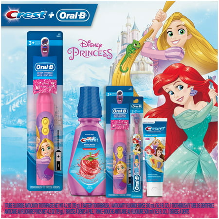 Crest & Oral-B Kids Premium Holiday Gift Pack with toothbrushes,  toothpaste, and mouthwash featuring Disney Princess Characters