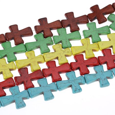 Strand Turquoise Cross - 1 Strand, Turquoise Red Cross Spacer Loose Beads 3.7cmx3.1cm (1 4/8''x1 2/8''...