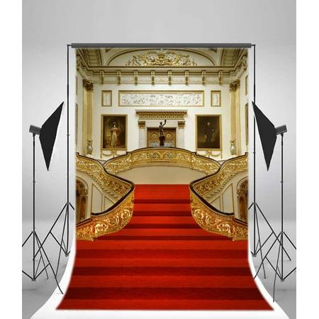 HelloDecor Polyster European Retro Interior Design Backdrop 5x7ft Photo Frames Red Carpet Handrail Wall Photography Background Video Studio Props Children Baby Kids - Backdrop Design