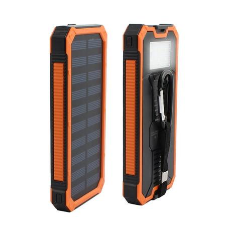 12000Mah Solar Charger Double Usb Power Bank Phone Battery W Flashlight Orange