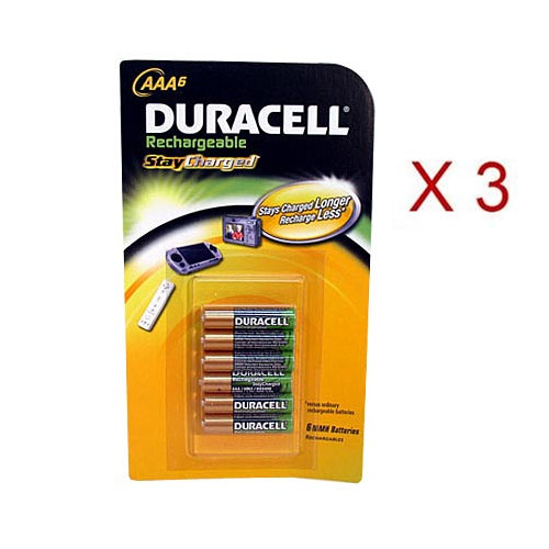 Duracell AAA Pre-Charged Rechargeable Stay Charged AAA Batteries 3 6Packs (18)