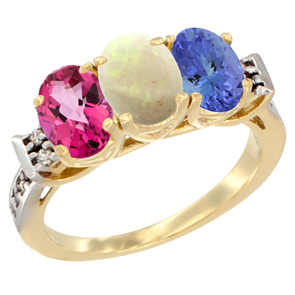14K Yellow Gold Natural Pink Topaz, Opal & Tanzanite Ring 3-Stone Oval 7x5 mm Diamond Accent, sizes 5 10 by WorldJewels
