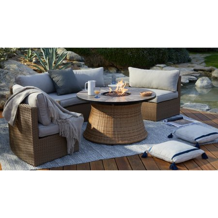 Coral Coast Myles Wicker Curved Outdoor Patio Fire Pit Sectional Set ()
