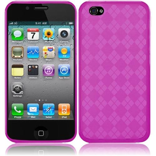 Insten For Apple iPhone 4 / 4SGS 4G CDMA GSM TPU Rubber Gel Cover Case Hot Pink