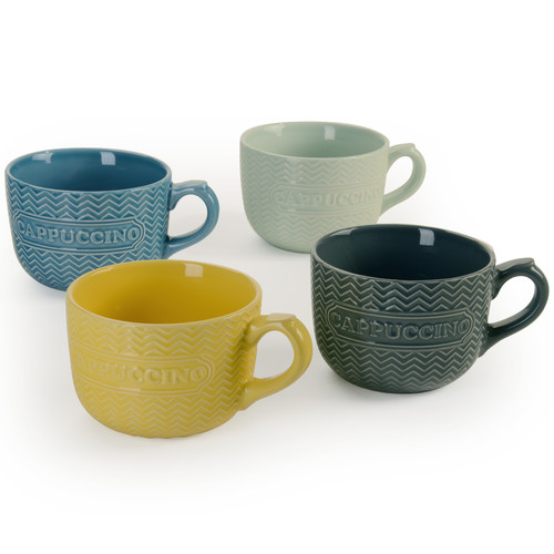 Signature Housewares Embossed Word 20 oz. Cappuccino Mug (Set of 4)