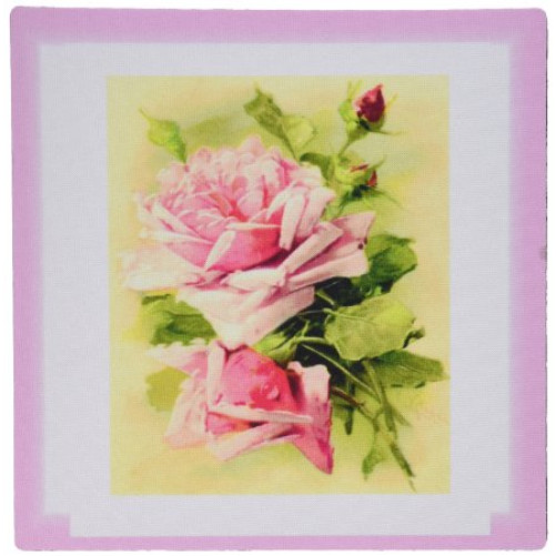 3dRose LLC 8 x 8 x 0.25 Inches Mouse Pad, Image of Shabby Chic Pink Roses Feminine Painting - (mp_171554_1)