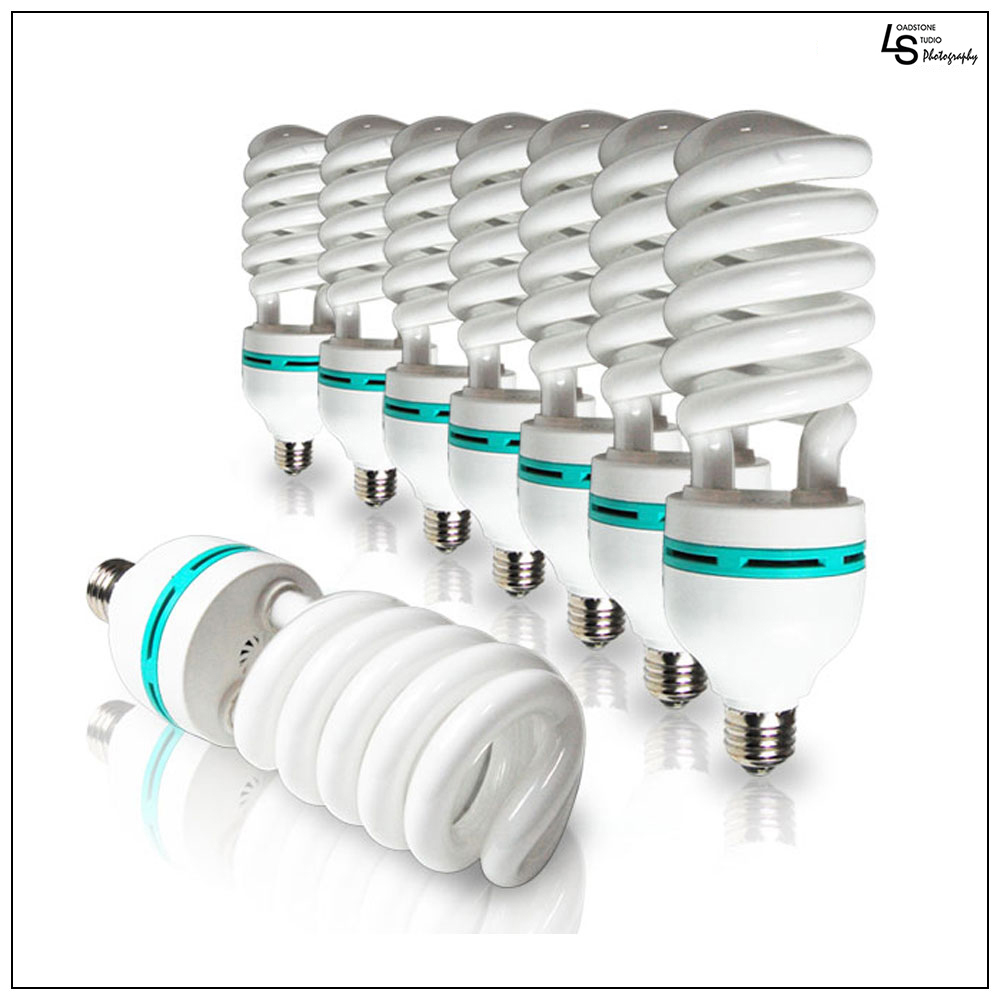 8x 45W Energy Saver Compact Fluorescent 6500K Daylight CFL Continuous Spiral Bulb for Photography Lighting by Loadstone Studio WMLS1093