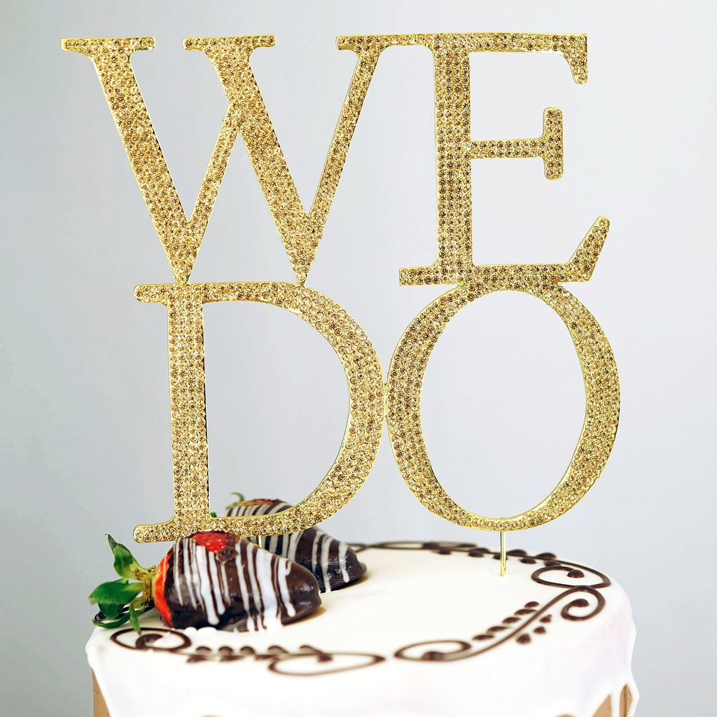 "BalsaCircle 6"" tall Gold WE DO Rhinestone Cake Topper - Personalized Monogram Wedding Party Decorations"