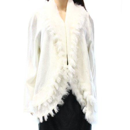Faux Fur Trim Sweater Cardigan - Alfani NEW White Ivory Women Size Small S Faux-Fur Trim Cardigan Sweater