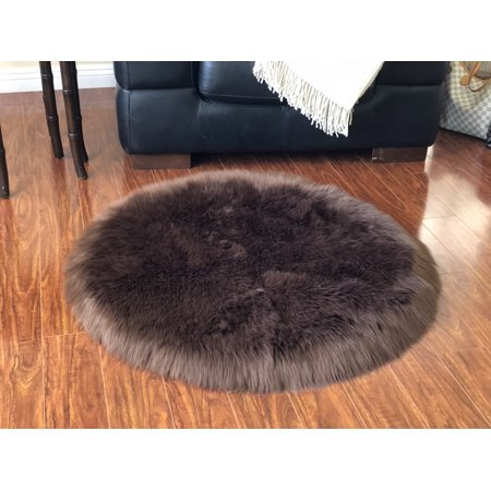 Soho Luxurious Faux Sheepskin Round Shape Brown Shag Area Rug
