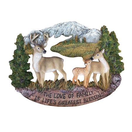 Pine Ridge Deer Family Wall Hanging Plaque Home Decor Inscribed The Love of Family is Life's Greatest Blessing Figurine Collectibles - Barefoot Animals Wildlife Decoration Gift Ideas - Labor Day Decorations Ideas