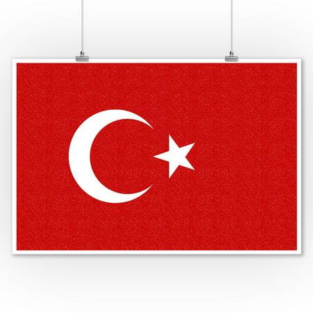 Turkey Country Flag - Letterpress - Lantern Press Artwork (9x12 Art Print, Wall Decor Travel Poster)](Turkish Lanterns)