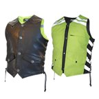 Men's G2 D.O.C. Reversible Leather Safety Vest Hi-Vis Green. - Small G2RVMG