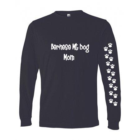 Bernese Mountain Dog Mom Tshirt Ladies Cut Blue Long Sleeve