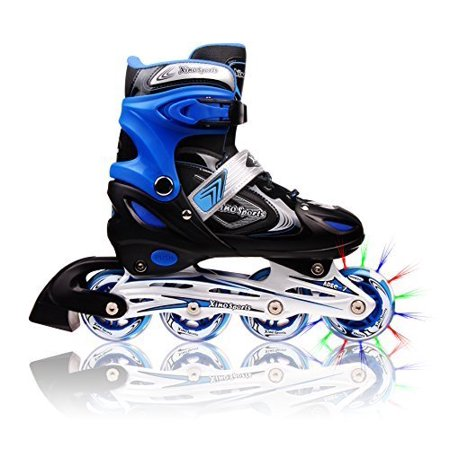 Adjustable Inline Skates for Kids, Featuring Illuminating Front Wheels, Awesome-looking, Comfortable, Safe and Durable Rollerblades, For Boys and Girls, 60-day (Day Skate)