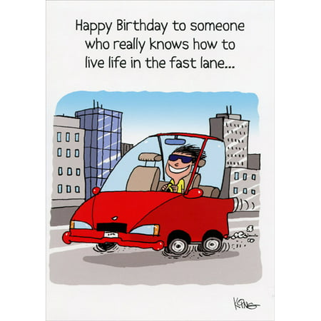 Oatmeal Studios Live in the Fast Lane Funny Birthday Card for Him (Love Live Halloween Cards)