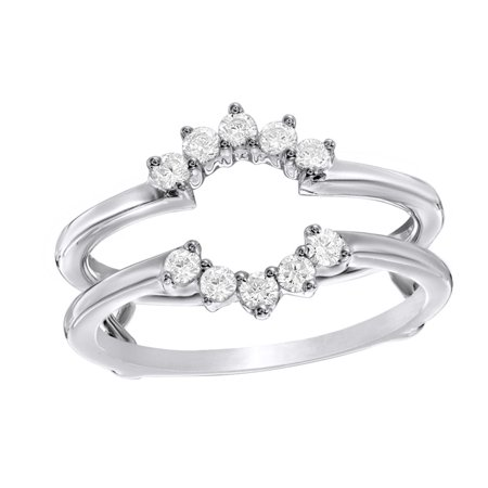 Jewel Zone US - White Natural Diamond Flower Frame Solitaire ...