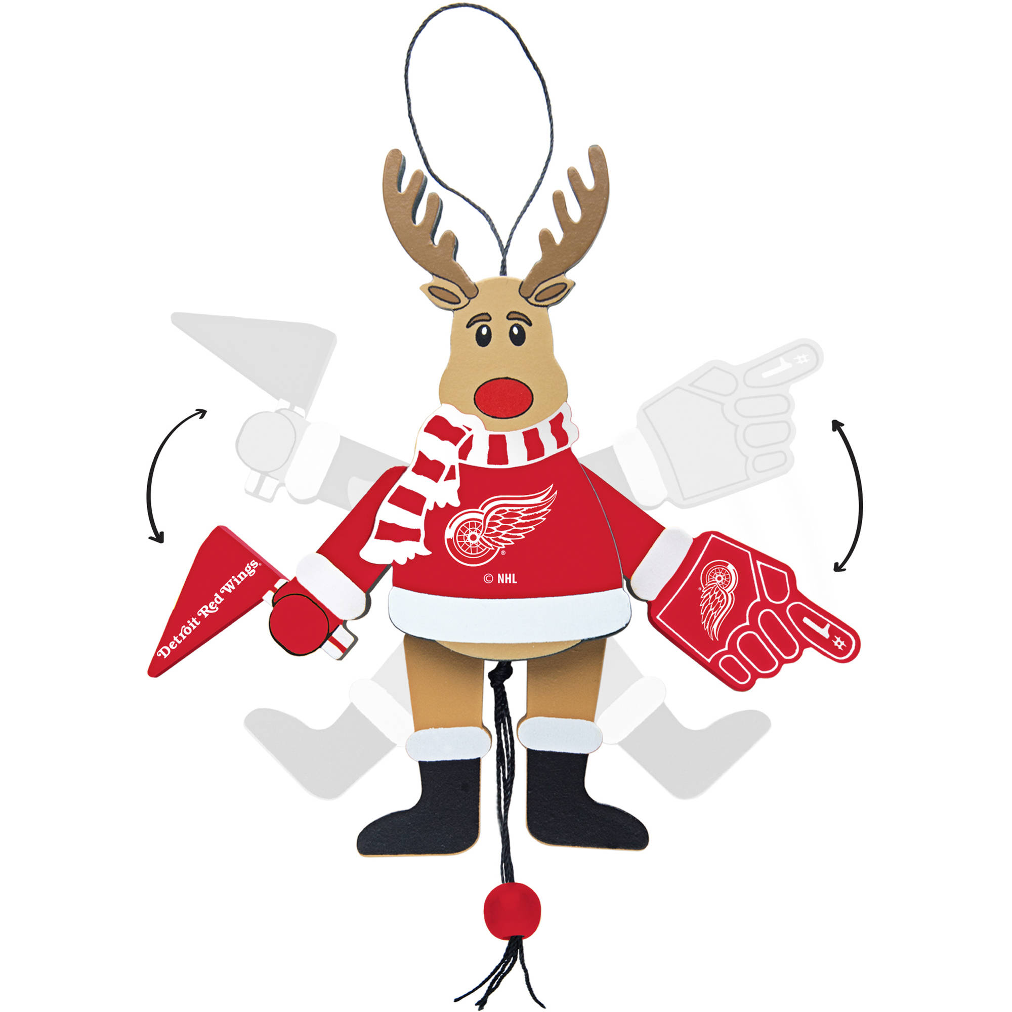Topperscot by Boelter Brands NHL Wooden Cheering Reindeer Ornament, Detroit Redwings