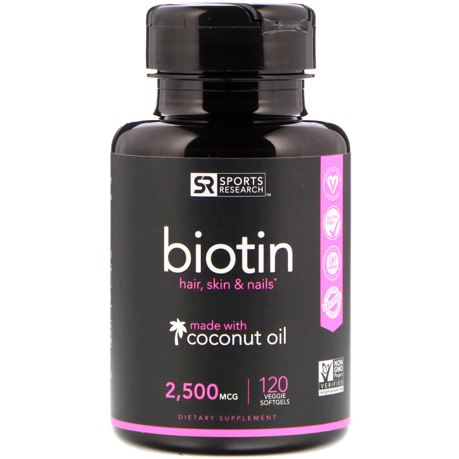 Sports Research  Biotin  2 500 mcg  120 Veggie Softgels