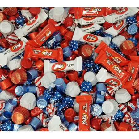 Christmas Candy Kit - Patriotic USA Flag Colors Hershey Chocolate Candy Mix - Kisses USA Flag, Kit Kat Miniatures, Reese's Peanut Butter Cup, Red Blue Rolo Chewy Caramel Bulk 2 Pounds Bag
