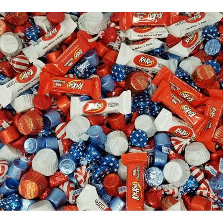 Patriotic USA Flag Colors Hershey Chocolate Candy Mix - Kisses USA Flag, Kit Kat Miniatures, Reese's Peanut Butter Cup, Red Blue Rolo Chewy Caramel Bulk 2 Pounds Bag](Color Candy)
