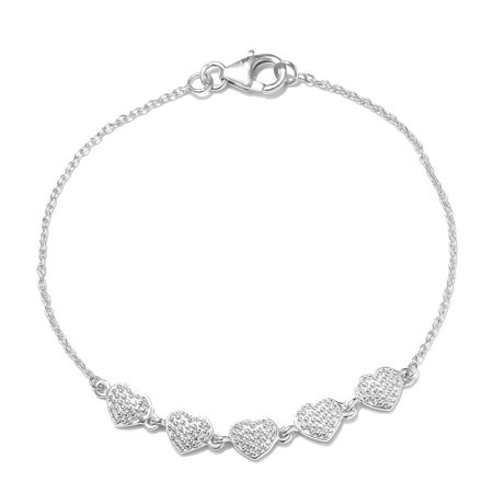 Heart Bracelet 925 Sterling Silver Platinum Plated Gift Jewelry for Women