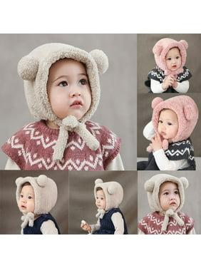 Lovely Toddler Baby Girls Boys Warm Hat Winter Beanie Hat Cute Bear Ear Plush Cap