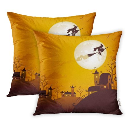 ARHOME Orange Cute Halloween Scene Witch Flying Over The Moon Silhouette Backlit Bat Pillowcase Cushion Cover 16x16 inch, Set of 2