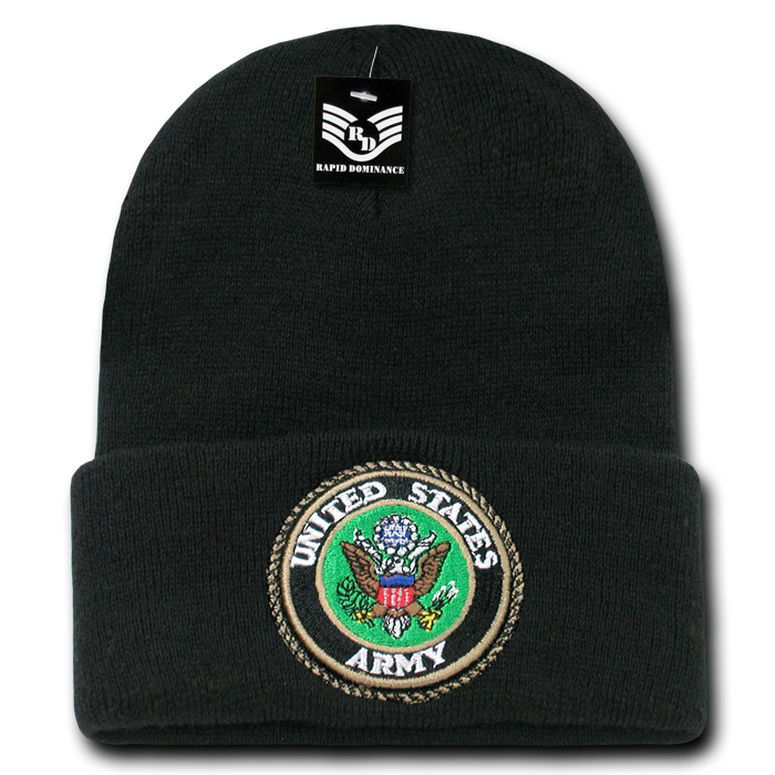 Rapid Dominance US Army Logo (Black) - Embroidered US Military Beanies Beany For Men Women Cuffed Long Knit Caps Hats