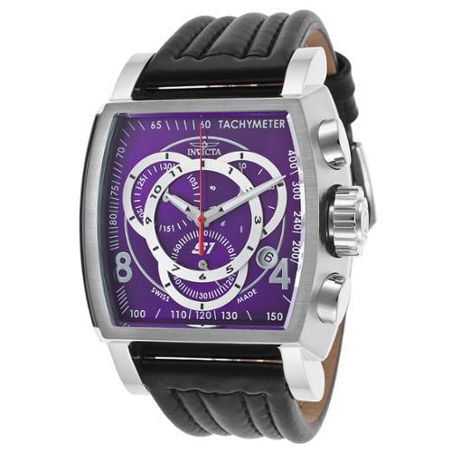 Invicta Bolt Men's 52mm Quartz Chronograph Black Dial Genuine Black Leather Strap Watch (24440)� by Invicta