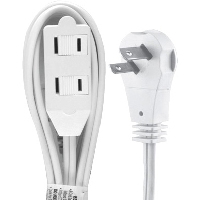 GE 2-Outlet Wall Hugger Extension Cord, 6', White by GE