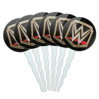 WWE World Heavyweight Champion Title Logo Cupcake Picks Toppers Decoration Set of 6