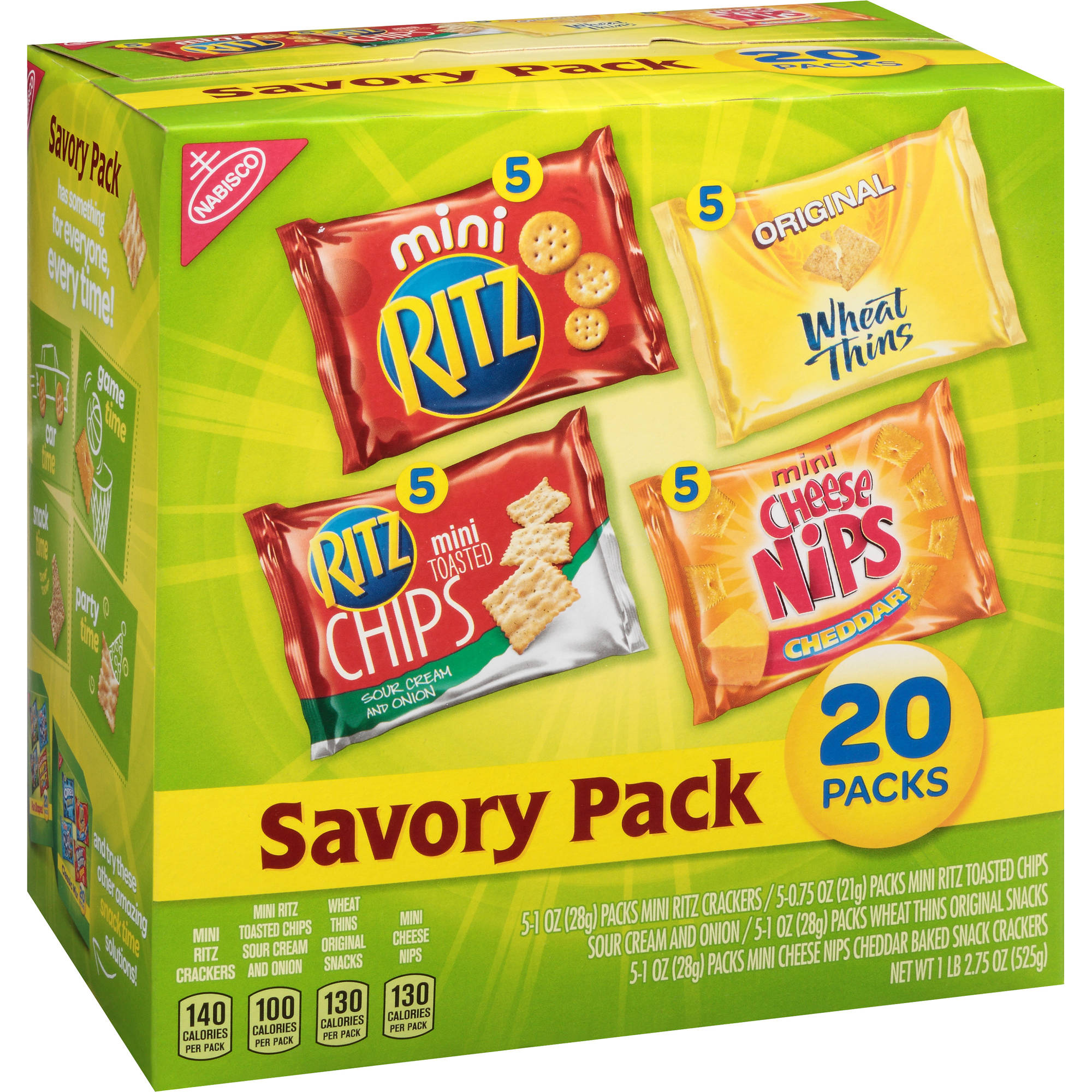 Nabisco Savory Pack Snacks Variety Pack, 20 count, 18.75 oz