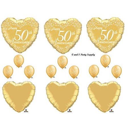 50TH GOLDEN ANNIVERSARY Balloons Birthday party Decoration Supplies Wedding Bell by Qualatex - Anniversary Supplies