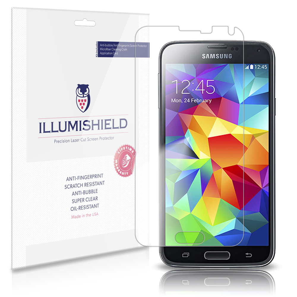 iLLumiShield Phone Screen Protector w Anti-Bubble/Print 3x for Samsung Galaxy S5