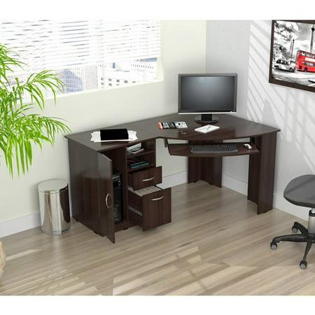 Inval Corner Computer Desk, Espresso-Wengue Finish ()