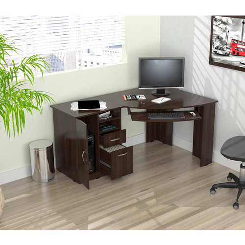 Inval Corner Computer Desk, Espresso-Wengue Finish