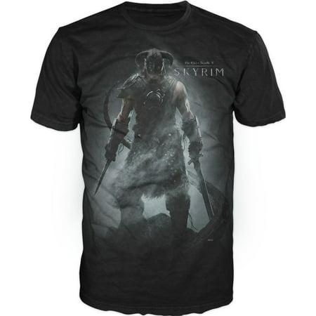 Scroll Print Tee (The Elder Scrolls V: Skyrim Men's Black T-Shirt Tee Shirt-Small)