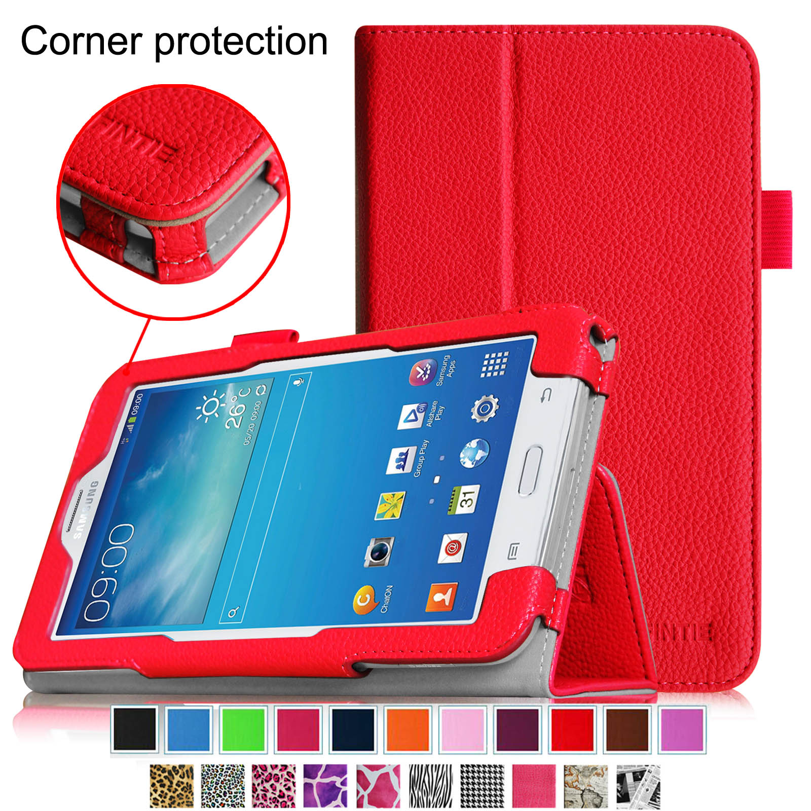 Fintie Samsung Galaxy Tab E Lite 7.0 SM-T113 / Tab 3 Lite 7.0 SM-T110 SM-T111 Tablet Case Slim Fit Folio Cover, Red