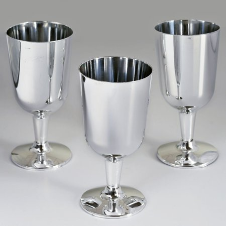 BalsaCircle Silver 11 pcs 7 oz. Disposable Plastic Wine Glasses - Wedding Reception Party Buffet Catering Tableware