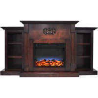 """Cambridge Sanoma Electric Fireplace Heater with 72"""" Bookshelf Mantel and Multi-Color LED Flame Display"""