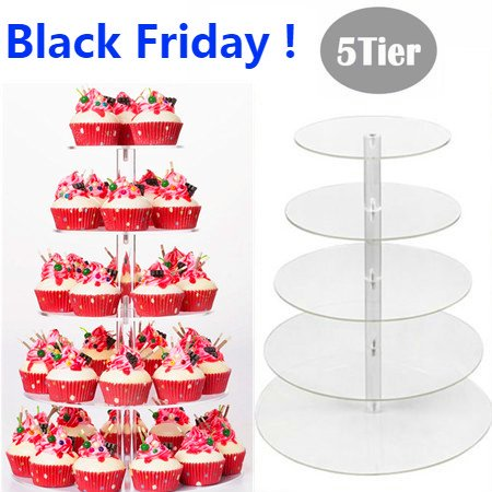Durable 5 Tier Round Adjustable Wedding Acrylic Cupcake Stand Tree Clear Tower Cup Cake Display(Overall Height 16.4inch) WSY