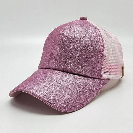Women Messy High Bun Ponytail Adjustable Glitter Mesh Trucker Baseball Pony Cap 2018