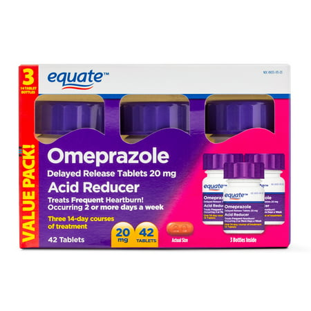 Equate Acid Reducer Omeprazole Delayed Release Tablets, 20 mg, 42 Ct, 3 Pk - Treat Frequent Heartburn