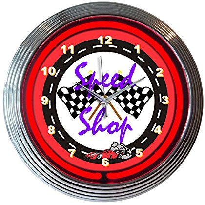 Neonetics Cars and Motorcycles Speed Shop Neon Wall Clock, 15-Inch
